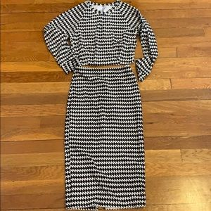 American apparel houndstooth skirt crop top set M